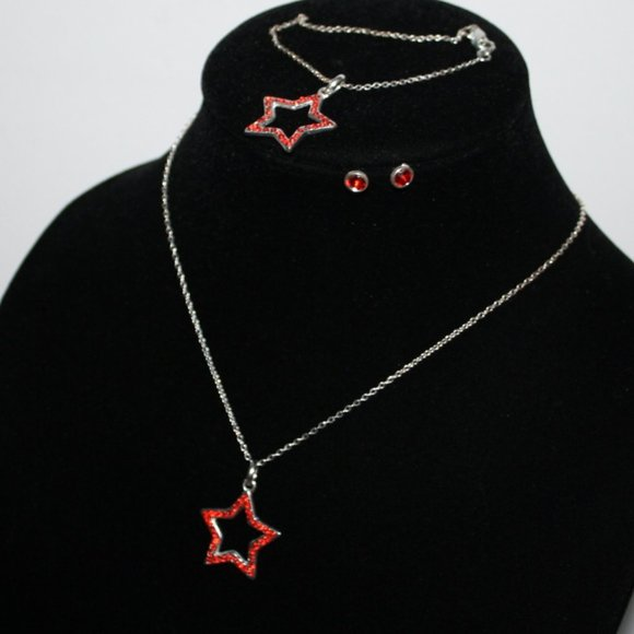 Beautiful star and red rhinestone jewelry set